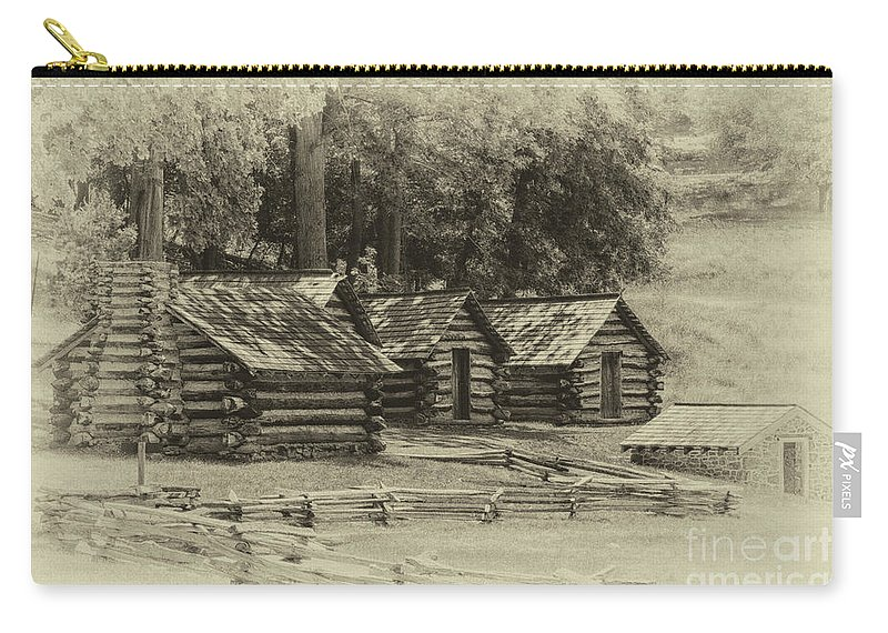 America Carry-all Pouch featuring the photograph Valley Forge Barracks In Sepia by Tom Gari Gallery-Three-Photography