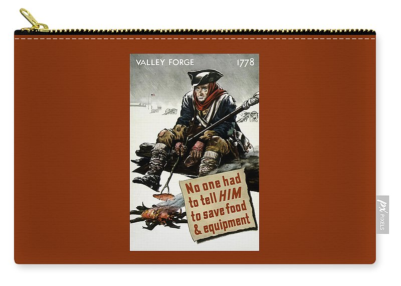 World War Ii Carry-all Pouch featuring the painting Valley Forge Soldier - Conservation Propaganda by War Is Hell Store