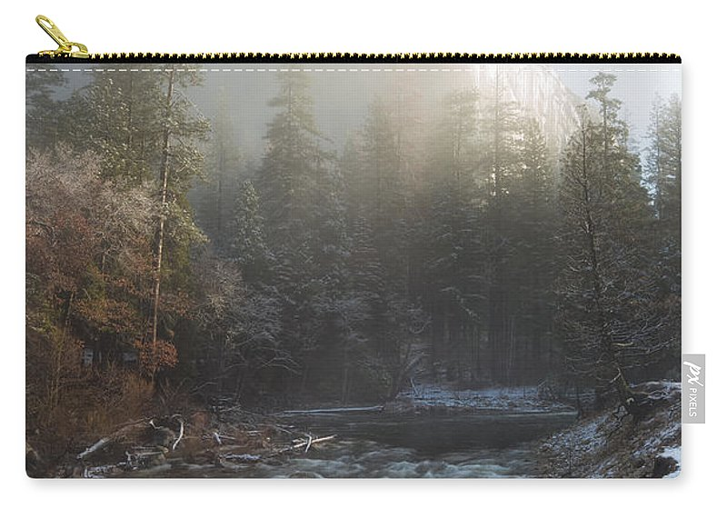 Yosemite Carry-all Pouch featuring the photograph Valley Of Mist by Anthony Bonafede