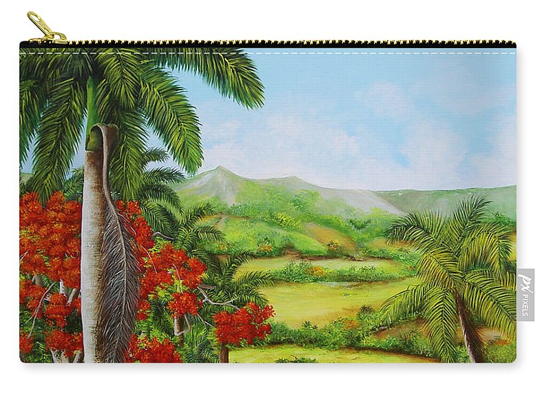 Palms Carry-all Pouch featuring the painting Yumuri Valley by Dominica Alcantara