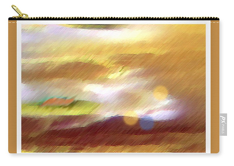 Landscape Carry-all Pouch featuring the painting Valleylights by Anil Nene