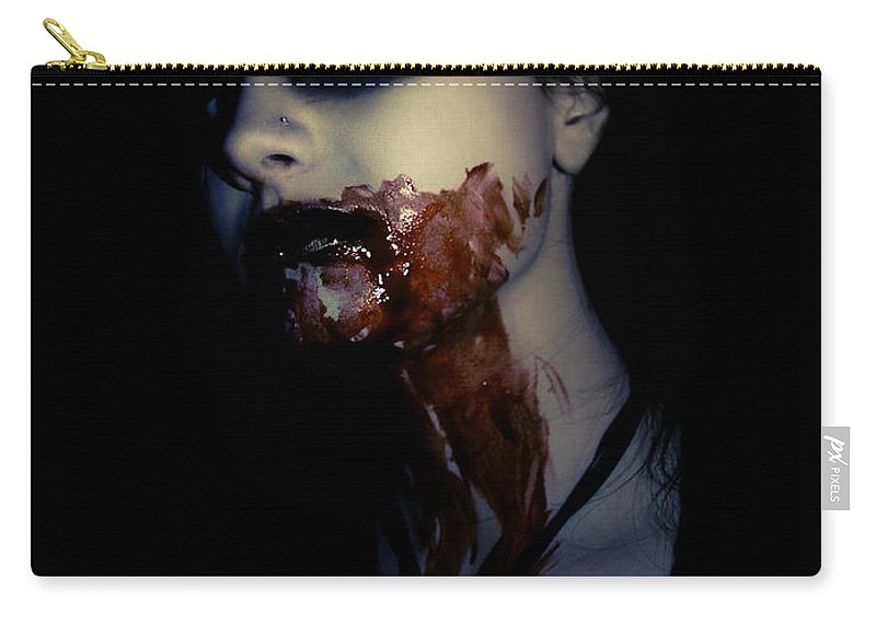 Vampire Carry-all Pouch featuring the photograph Vampire Feed by Kelly Jade King