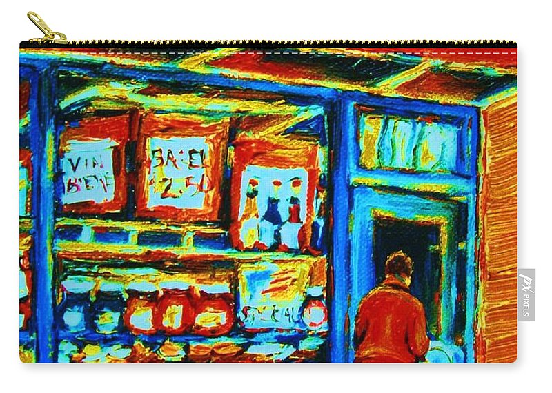 Van Horne Bagel Carry-all Pouch featuring the painting Van Horne Bagel by Carole Spandau