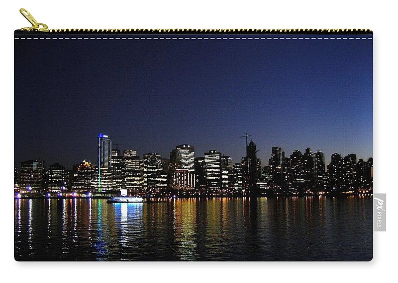 Night Scape Carry-all Pouch featuring the photograph Vancouver Night Lights by Will Borden