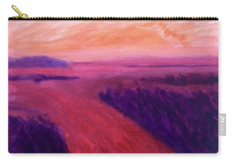 Rivers Water Orange Purple Magenta Wine Skies Carry-all Pouch featuring the painting Vanishing by Suzanne Udell Levinger