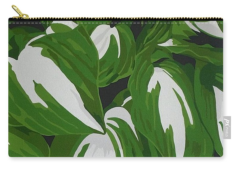 Acrylic Carry-all Pouch featuring the painting Variegated Hostas by Susan Porter