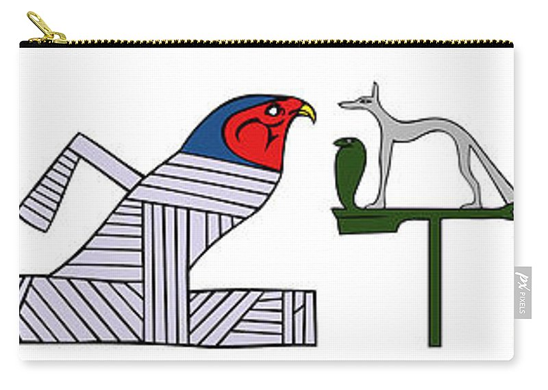 Demon Carry-all Pouch featuring the digital art various demons of ancient Egypt by Michal Boubin