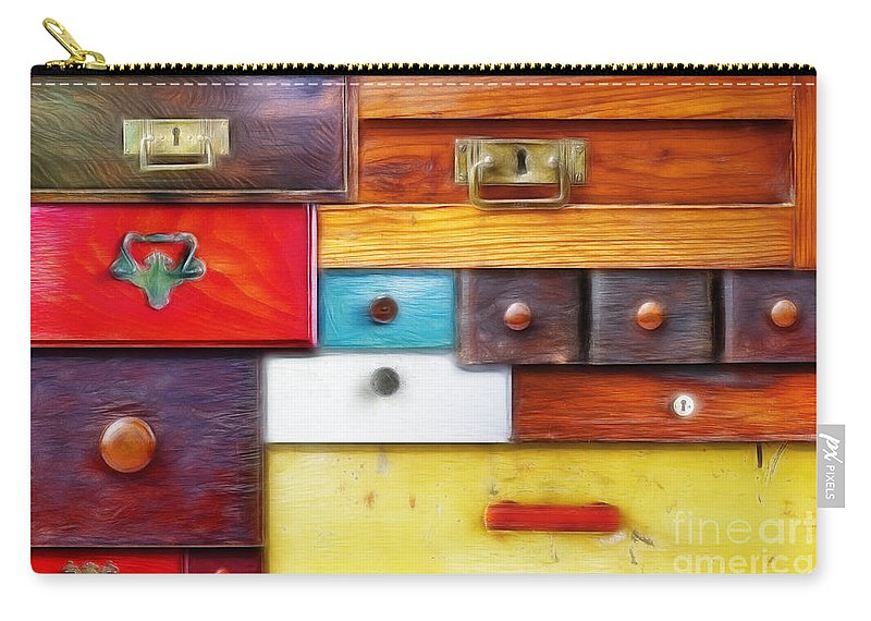 Abstract Carry-all Pouch featuring the digital art Various Old Drawers - In Utter Secrecy by Michal Boubin
