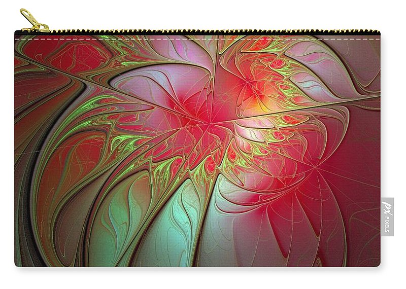 Digital Art Carry-all Pouch featuring the digital art Vase Of Flowers by Amanda Moore