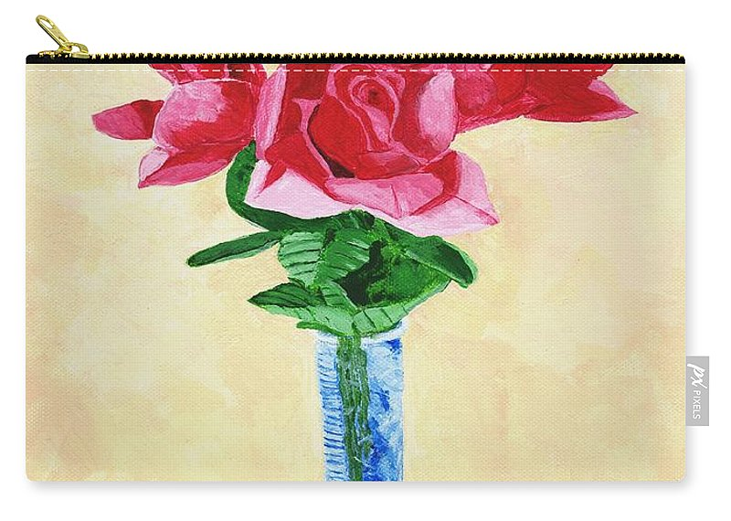 Red Roses Carry-all Pouch featuring the painting Vase Of Red Roses by Rodney Campbell