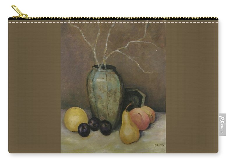 Still Life Carry-all Pouch featuring the painting Vase With Fruit by Pat Snook