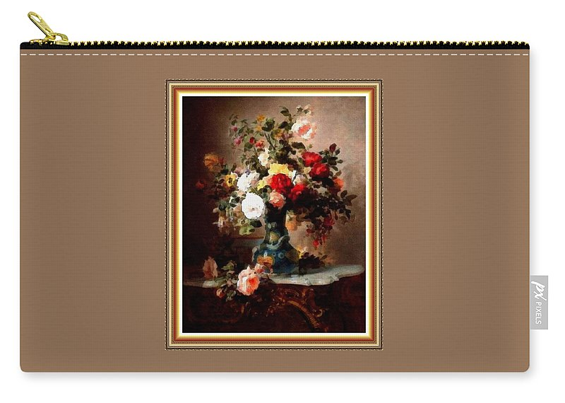 Vase Carry-all Pouch featuring the painting Vase With Roses And Other Flowers L B With Decorative Ornate Printed Frame. by Gert J Rheeders