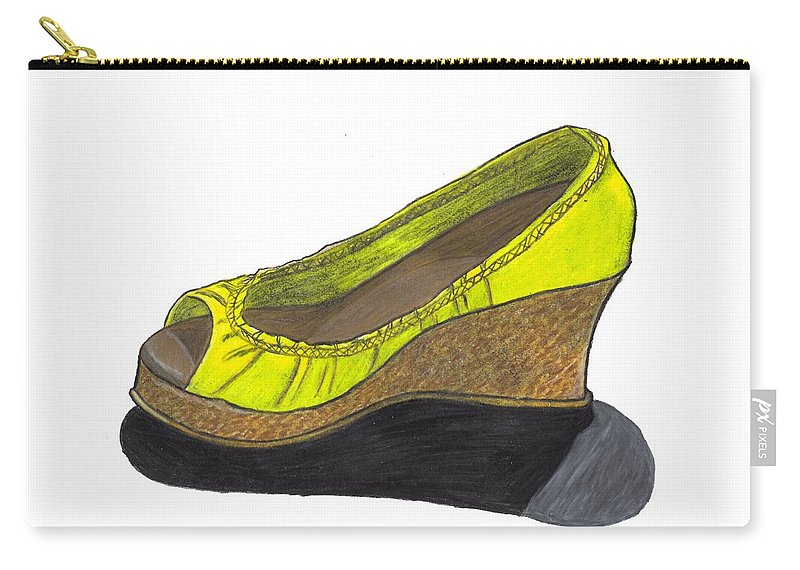 Shoe Carry-all Pouch featuring the drawing Vegas Shoes by Jean Haynes