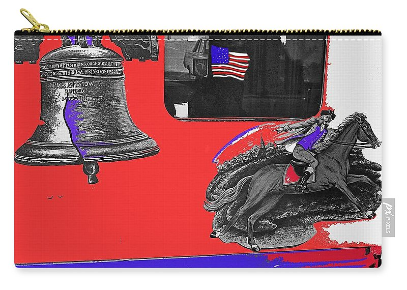 Vehicle Liberty Bell Paul Revere Flag Bicentennial Of Constitution Tucson Arizona 1987 Carry-all Pouch featuring the photograph Vehicle Liberty Bell Paul Revere Flag Bicentennial Of Constitution Tucson Arizona 1987-2015 by David Lee Guss