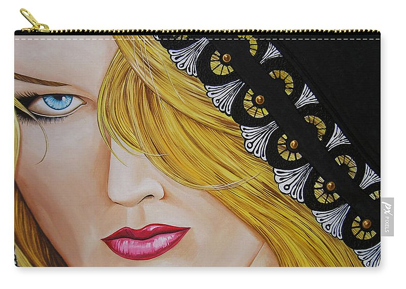 Woman Carry-all Pouch featuring the painting Veiled Woman by Juan Alcantara