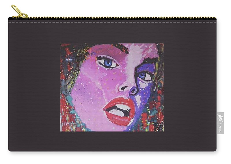 Portrait Woman Colour Abstract Splash Luxury Design Carry-all Pouch featuring the painting Velvet Prol by Neuville