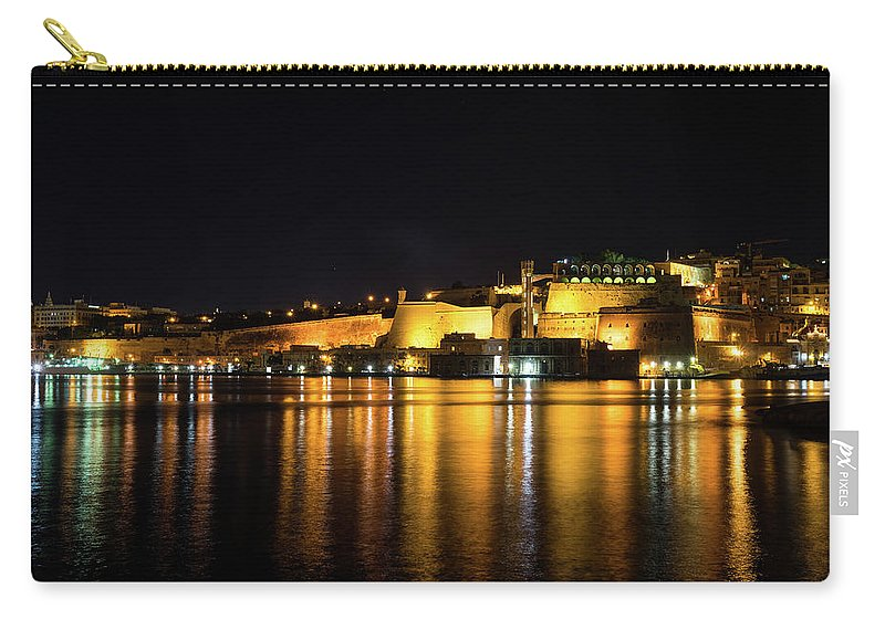 Georgia Mizuleva Carry-all Pouch featuring the photograph Velvety Reflections - Valletta Grand Harbour At Night by Georgia Mizuleva