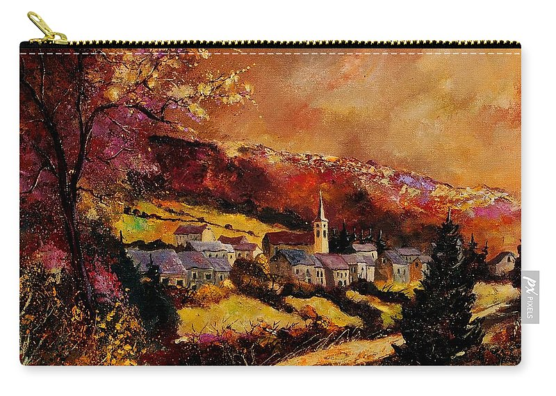 River Carry-all Pouch featuring the painting Vencimont Village Ardennes by Pol Ledent