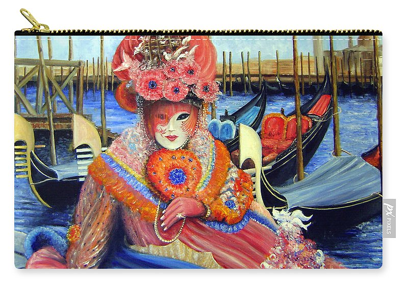 Venice Carry-all Pouch featuring the painting Venetian Carneval Mask With Bird Cage by Leonardo Ruggieri