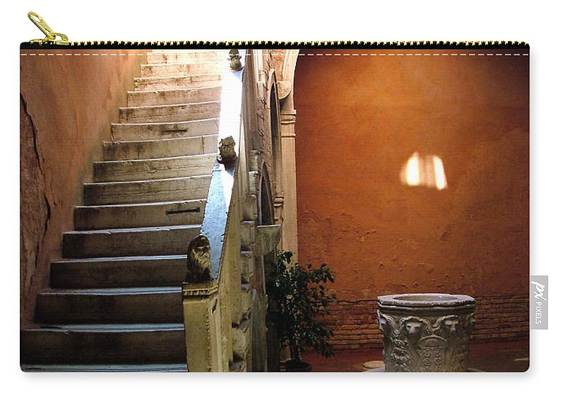Architecture Carry-all Pouch featuring the photograph Venetian Stairway by Donna Corless