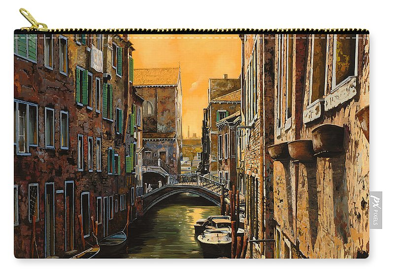 Venice Carry-all Pouch featuring the painting Venezia Al Tramonto by Guido Borelli