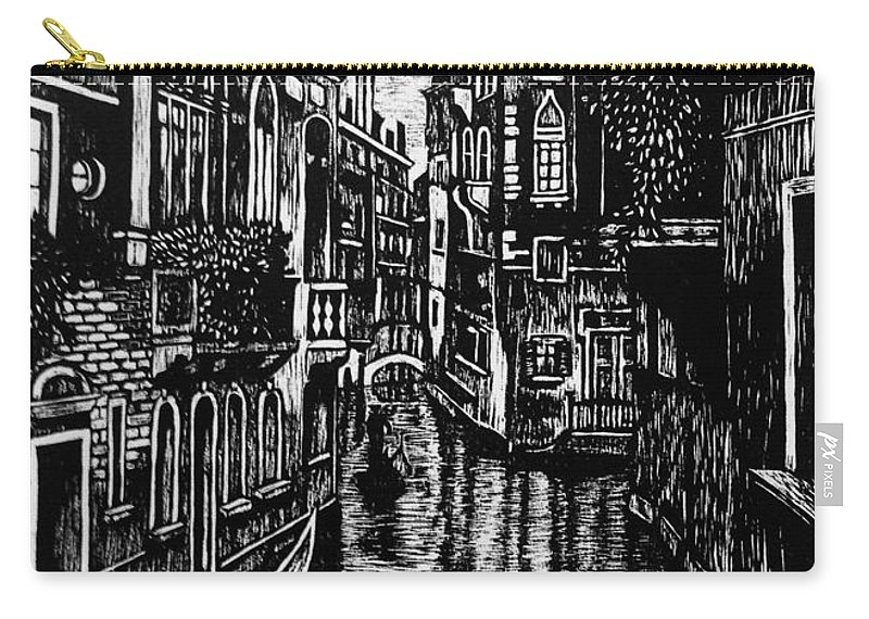Venice Carry-all Pouch featuring the mixed media Venice At Night by Lauren Ullrich