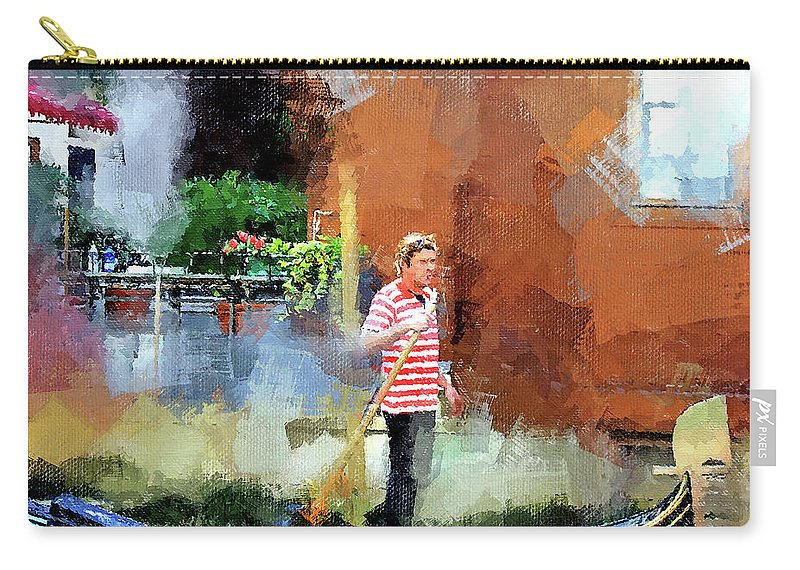 Venice Carry-all Pouch featuring the digital art Venice Boat Rider by Yury Malkov