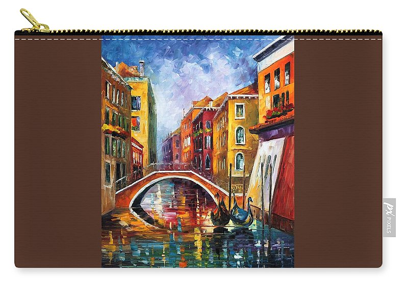 Afremov Carry-all Pouch featuring the painting Venice Bridge by Leonid Afremov