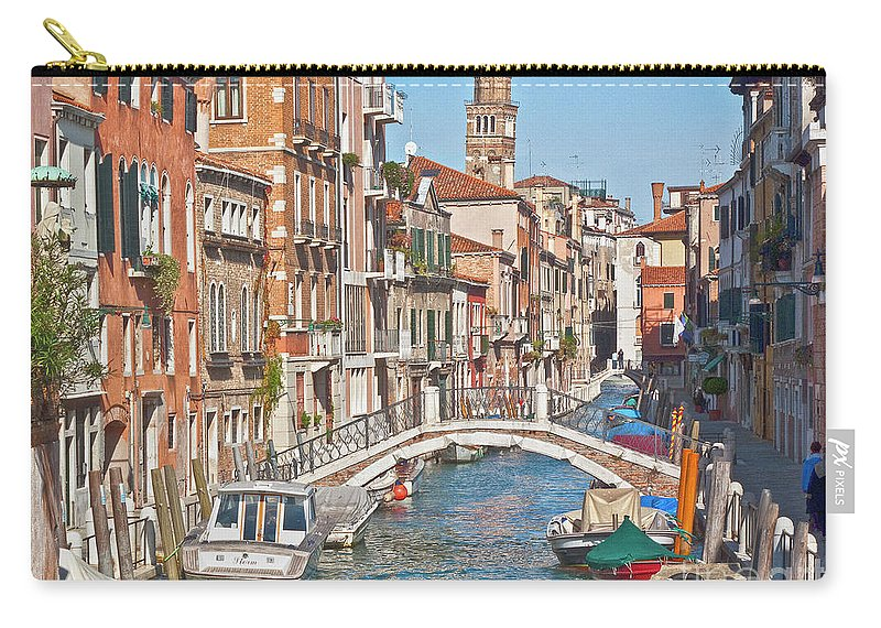 Venice Carry-all Pouch featuring the photograph Venice Canaletto Bridging by Heiko Koehrer-Wagner