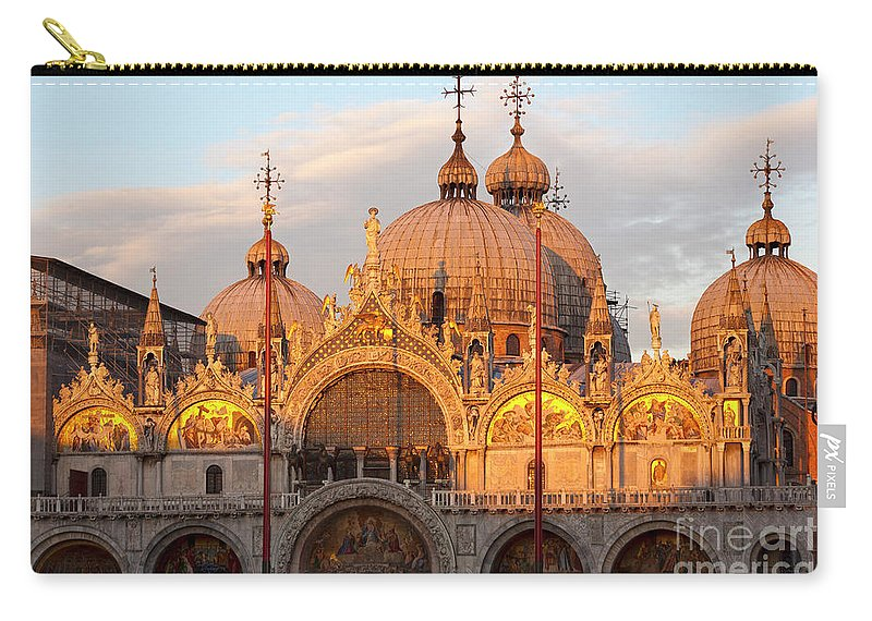 Venice Carry-all Pouch featuring the photograph Venice Church Of St. Marks At Sunset by Heiko Koehrer-Wagner