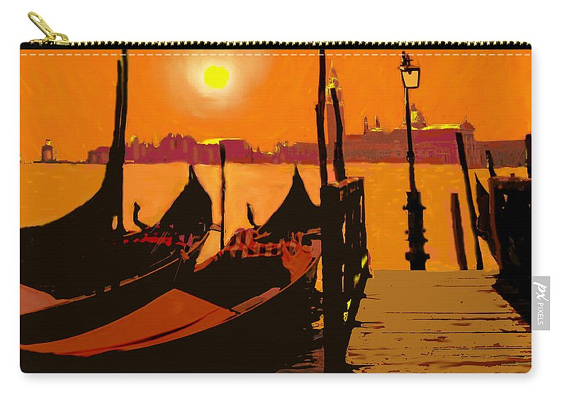 Venice Carry-all Pouch featuring the digital art Venice In Orange by Ian MacDonald