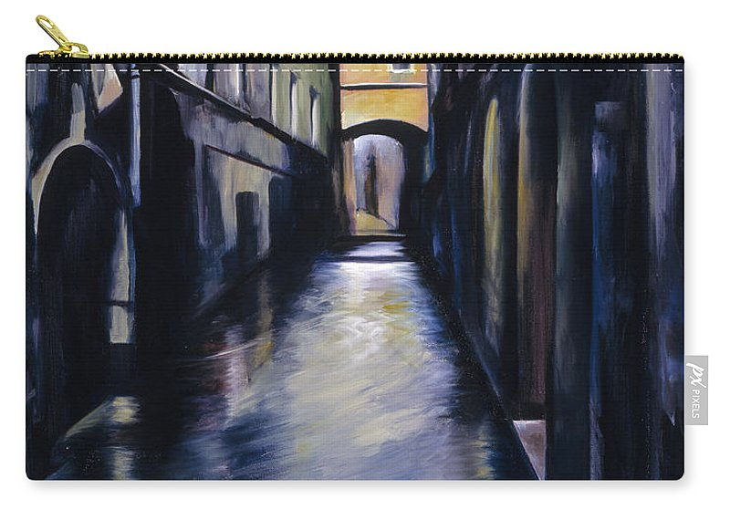 Street; Canal; Venice ; Desert; Abandoned; Delapidated; Lost; Highway; Route 66; Road; Vacancy; Run-down; Building; Old Signage; Nastalgia; Vintage; James Christopher Hill; Jameshillgallery.com; Foliage; Sky; Realism; Oils Carry-all Pouch featuring the painting Venice by James Christopher Hill