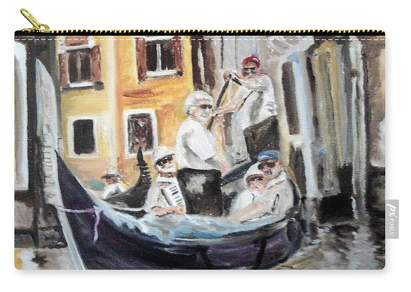 Canal Carry-all Pouch featuring the painting Venice Party by Chuck Gebhardt