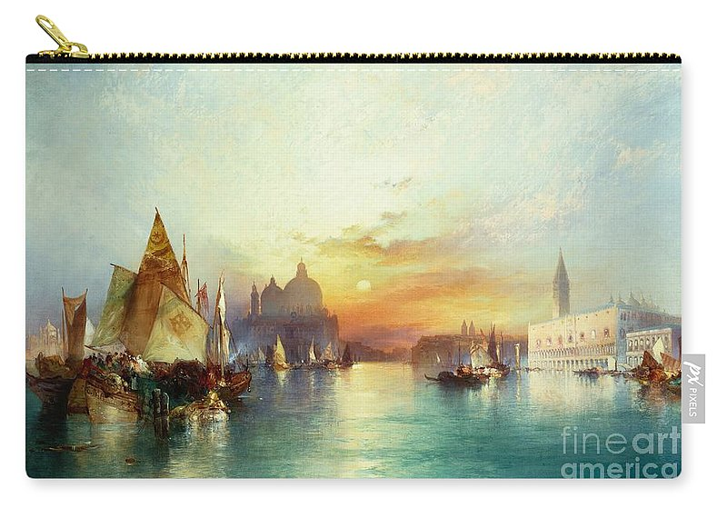 Venetian Scene; Sailing Boats; Architecture; Sunset; Atmospheric; Tranquil; Veneto-byzantine; Hudson River School; Italian; Dusk; Palazzo Ducale; Lagoon; Doge's Palace; Campanile; Thomas Moran Carry-all Pouch featuring the painting Venice by Thomas Moran