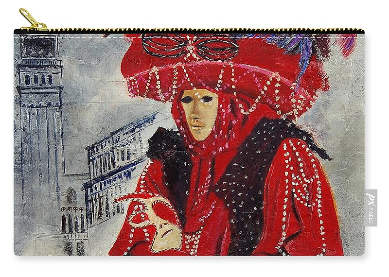 Venice Carry-all Pouch featuring the painting Venitian Mask 0130 by Pol Ledent