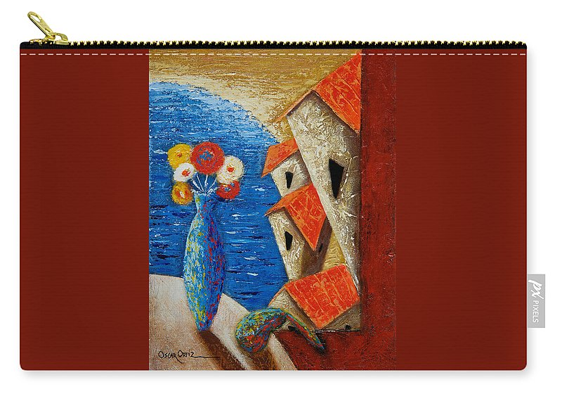 Landscape Carry-all Pouch featuring the painting Ventana Al Mar by Oscar Ortiz