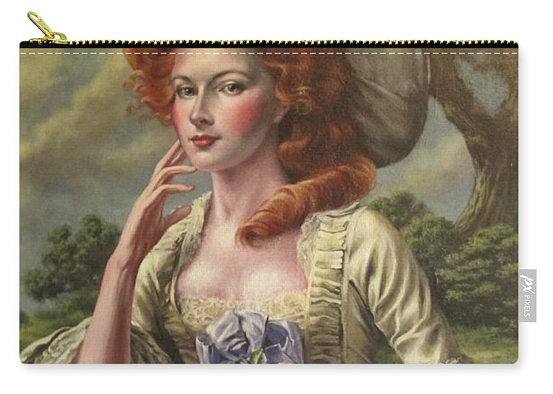 18th Century Lady Carry-all Pouch featuring the painting Vermilion Cheeks by Daniel Bosler
