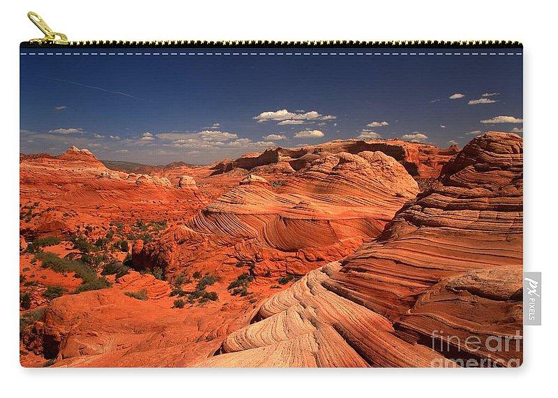 Vermilion Cliffs Carry-all Pouch featuring the photograph Vermilion Cliffs Rugged Landscape by Adam Jewell