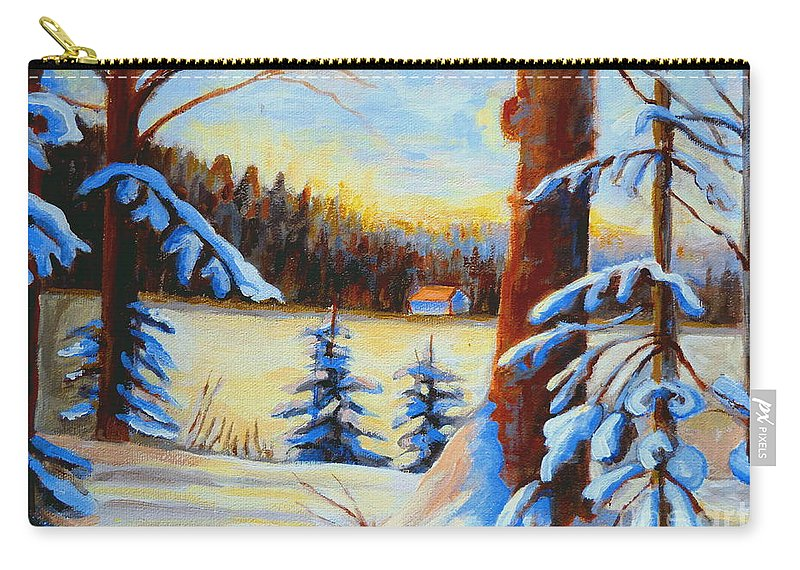 Vermont Carry-all Pouch featuring the painting Vermont Log Cabin Maple Syrup Time by Carole Spandau