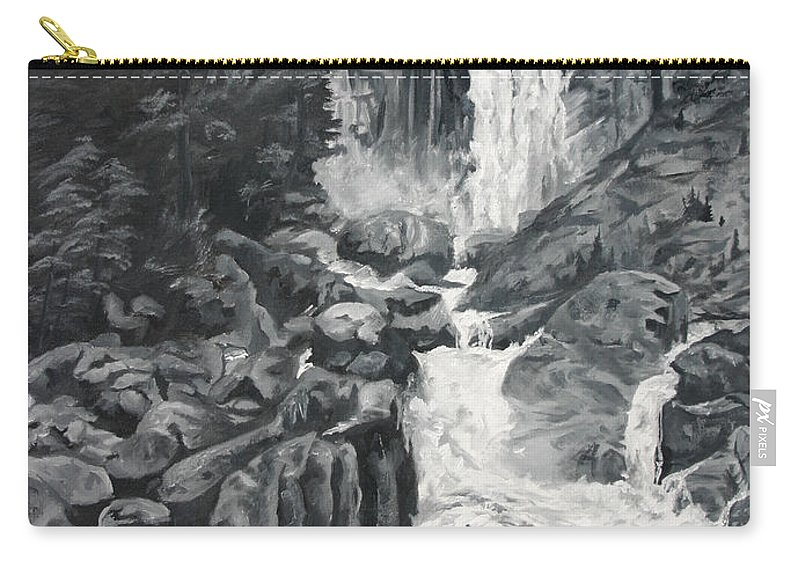 Landscape Carry-all Pouch featuring the painting Vernal Falls Black And White by Travis Day