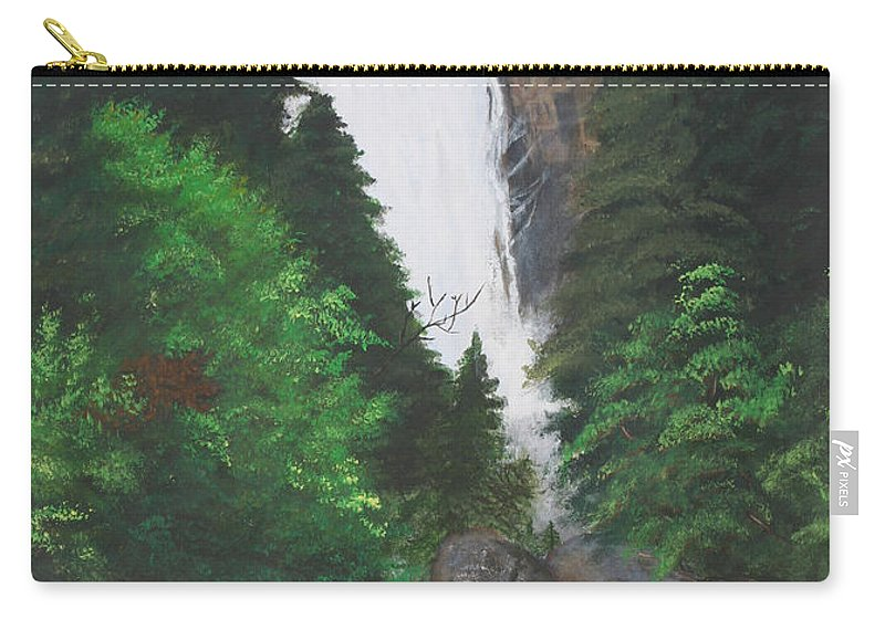 Landscape Carry-all Pouch featuring the painting Vernal Falls by Travis Day