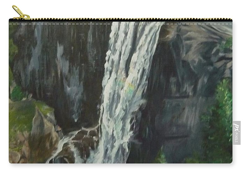 Vernal Falls Carry-all Pouch featuring the painting Vernal by Travis Day
