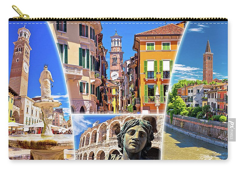 Verona Carry-all Pouch featuring the photograph Verona Colorful Tourist Landmarks Postcard by Brch Photography