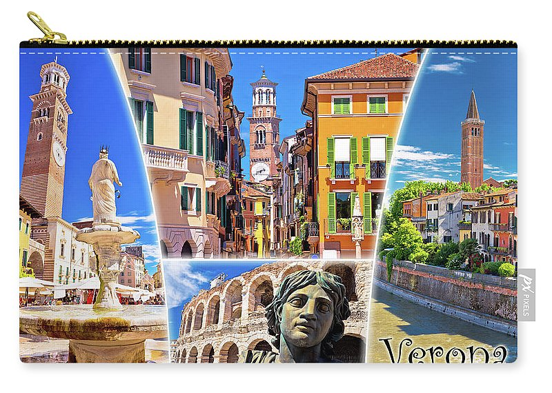 Verona Carry-all Pouch featuring the photograph Verona Tourist Landmarks Postcard With Label by Brch Photography