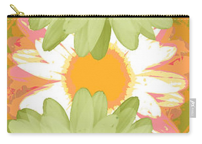 ruth Palmer Art Carry-all Pouch featuring the digital art Vertical Daisy Collage II by Ruth Palmer