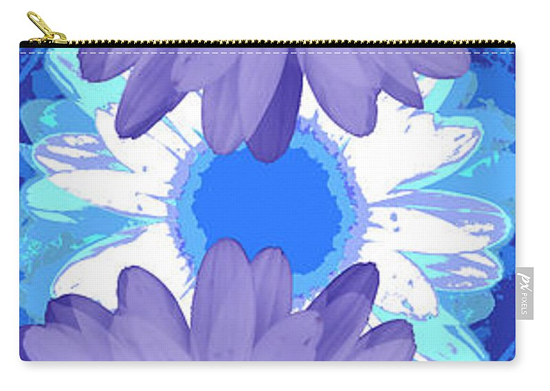 ruth Palmer Art Carry-all Pouch featuring the digital art Vertical Daisy Collage by Ruth Palmer