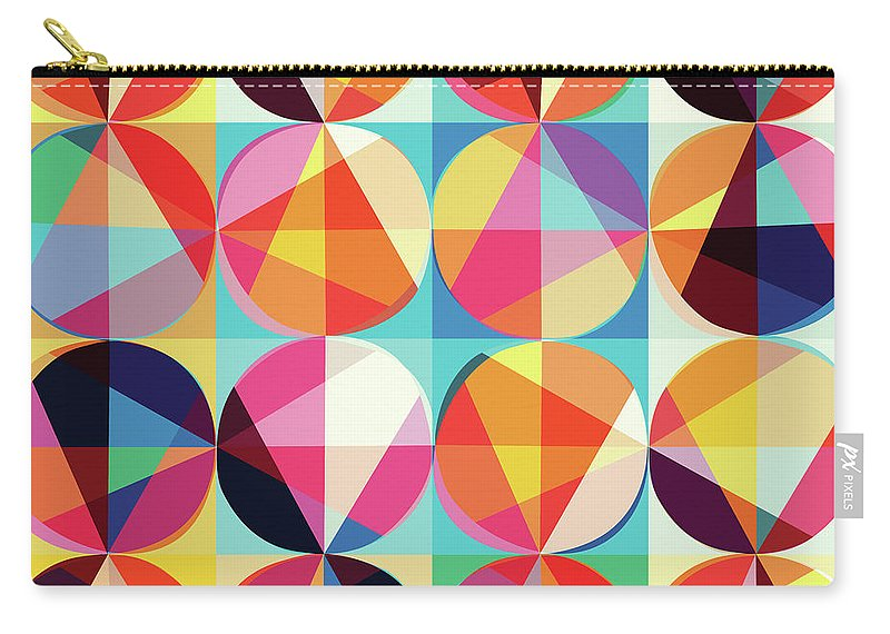 Vibrant Carry-all Pouch featuring the digital art Vibrant Geometric Abstract Triangles Circles Squares by Tina Lavoie