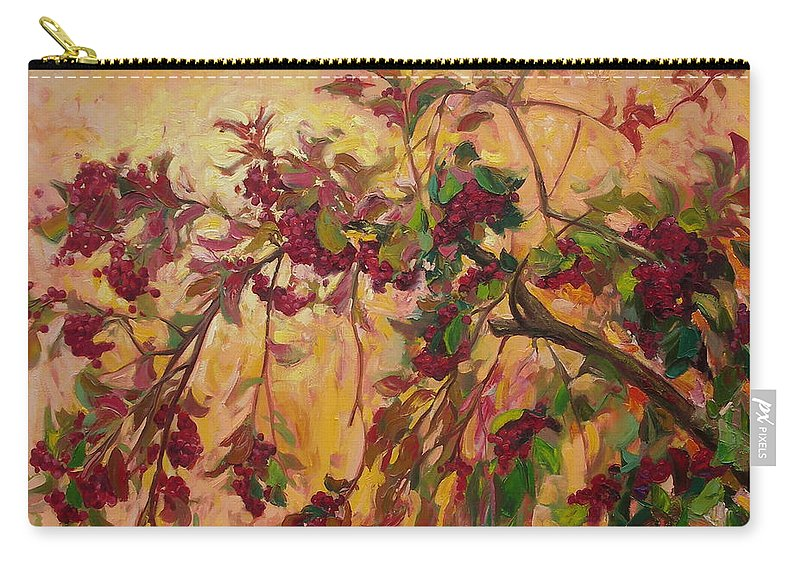 Viburnum Carry-all Pouch featuring the painting Viburnum by Sergey Ignatenko