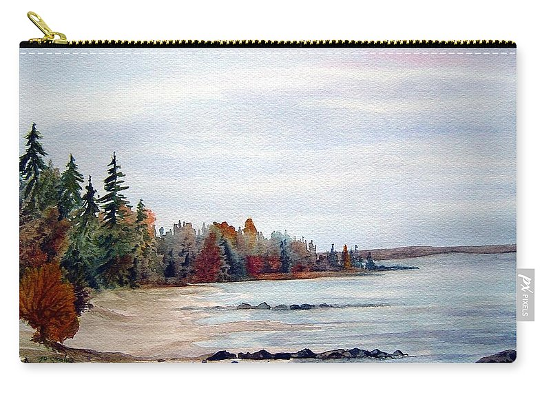 Victoria Beach Manitoba Shoreline Carry-all Pouch featuring the painting Victoria Beach In Manitoba by Joanne Smoley