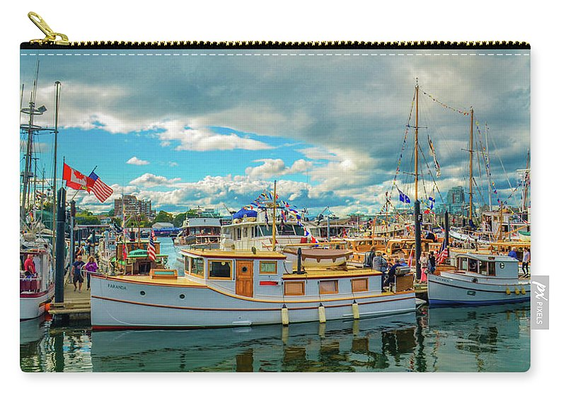 Boats Carry-all Pouch featuring the photograph Victoria Harbor old boats by Jason Brooks